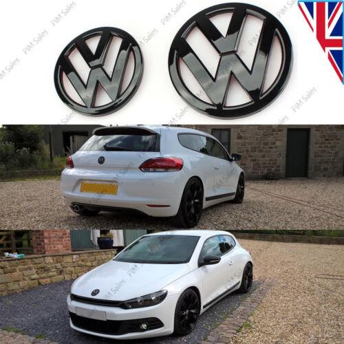 New VW Scirocco Mk3 Front Rear Set Pair Black Gloss Badge Logo Boot Rear Emblem