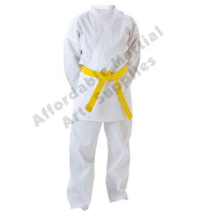 White-Kids-Karate-Suit-Karate-Gi-Karate-Uniform-FREE-White-Belt-FREE-UK-P-amp-P