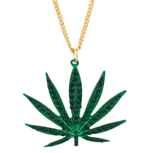 Lux Accessories Gold Tone Green Weed Pot Leaf Green Rhinestones Chain Necklace