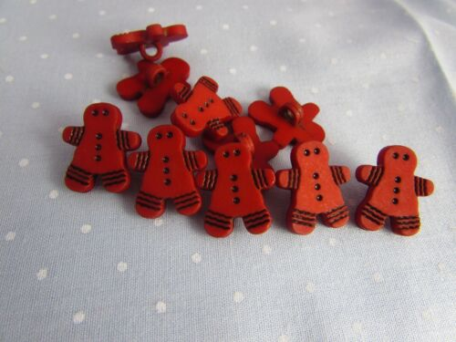5 or 10 Gingerbread Men Buttons Christmas Buttons Shank In Ginger Colour Pks  2