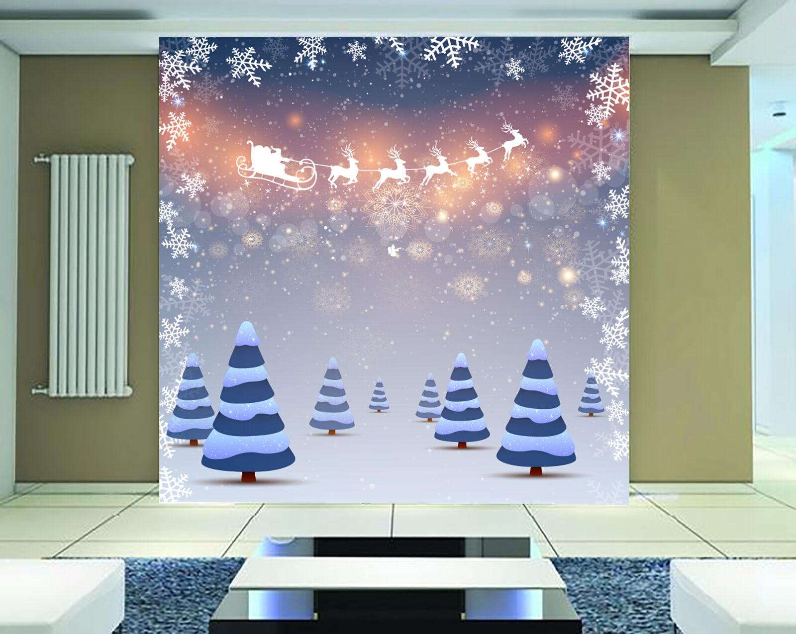 3D Chrismas little bluee trees WallPaper Murals Wall Print Decal AJ WALLPAPER