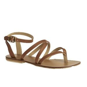 dafd28bc8 Image is loading Womens-Girls-Swell-Brown-Leather-Gladiator-Sandals-Casual-