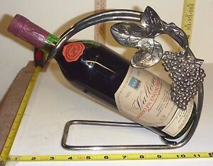 Image is loading Vtg-Silver-Plate-WINE-BOTTLE-HOLDER-Caddy-Tuscany- & Vtg Silver Plate WINE BOTTLE HOLDER/Caddy - Tuscany Grape Design ...