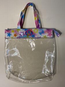 Vintage Lisa Frank Clear Tote Bag 90's Vintage Glitter Rainbow Trim & Handles