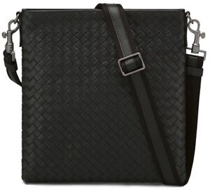 Image is loading Bottega-Veneta-Intrecciato-Leather -Side-Messenger-Cross-Body- 8685a937a3e13