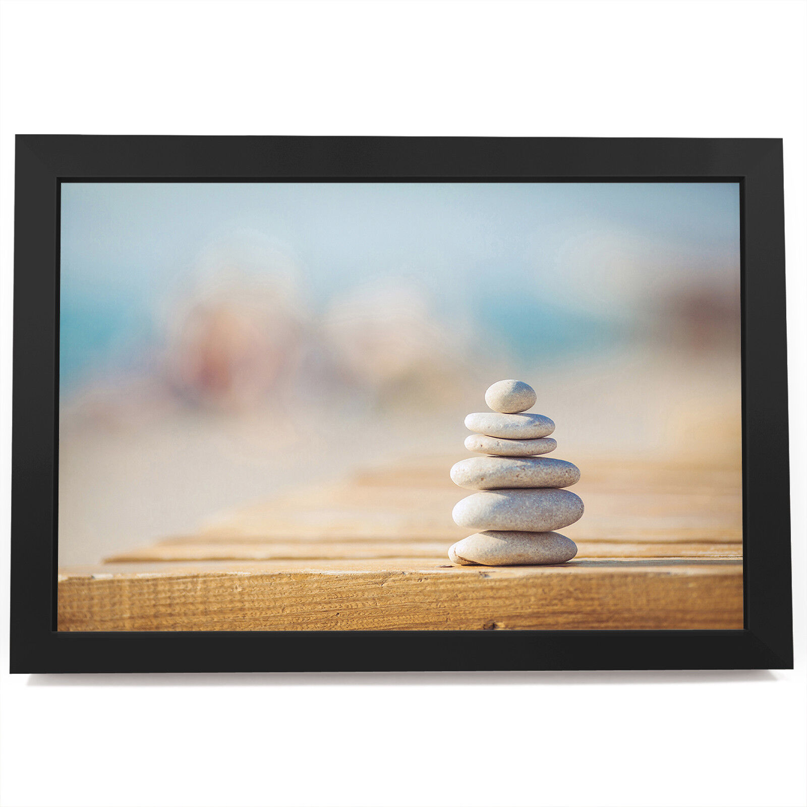 AB487 Blau Stones Beach Modern Abstract Framed Wall Art Large Picture Prints