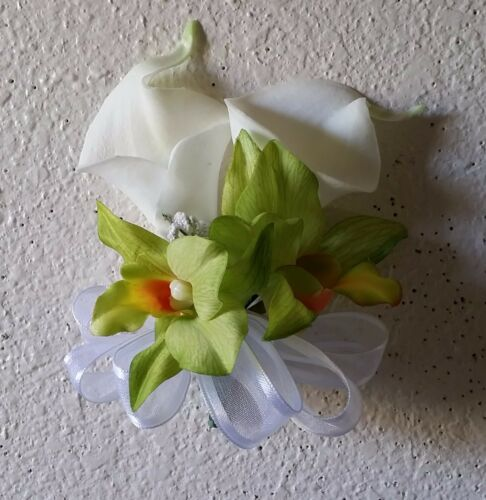 Ivory Calla Lily Apple Green Orchid Corsage or Boutonniere