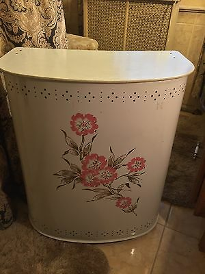 "1950's Vtg Metal Clothes Hamper White With Floral Design  23"" H X 20"" W X 10"" D"