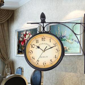 Jardin-Interieur-Exterieur-Horloge-murale-noire-Support-exterieur-Double-face