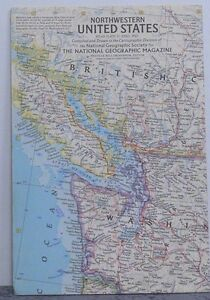 Vintage 1960 National Geographic Map of Northwestern United States ...