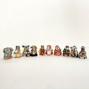 Vintage 1985 Franklin Mint Set 10 Alphabet Animal Thimbles E N O R S V W X Y Z