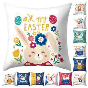 Am-Happy-Easter-Bunny-Egg-Flower-Pillow-Case-Bed-Car-Cafe-Office-Cushion-Cover
