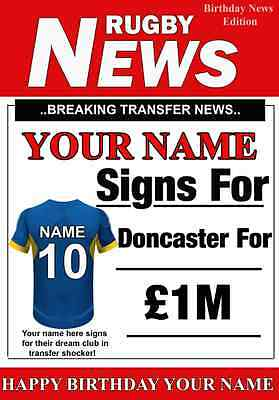A5 Personalised Doncaster The Dons Greeting Birthday Card Rugby PID230