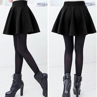 Women Cotton Vintage Stretch High Waist Plain Skater Flared Pleated Skirt Dress