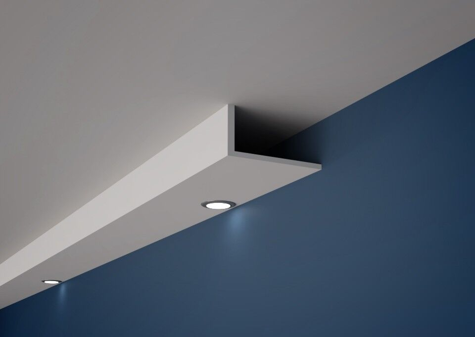 XPS Polystyrene coving cornice HL9  ADAPTED TO DOWNLIGHT  Many Größes Quality