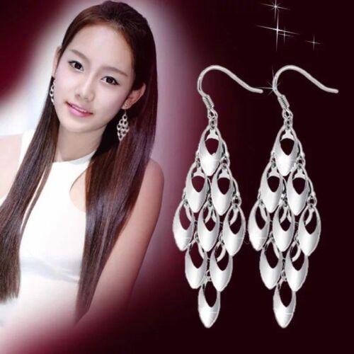925 Long Womens Earrings Sterling Silver Plated Tassel Drop Dangle Chain Hook