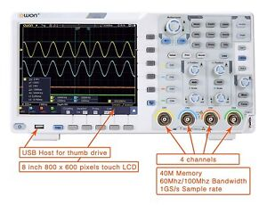 OWON-XDS3064AE-Oscilloscope-60MHz-4ch-14bits-standard-w-Touch-I2C-SPI-RS23