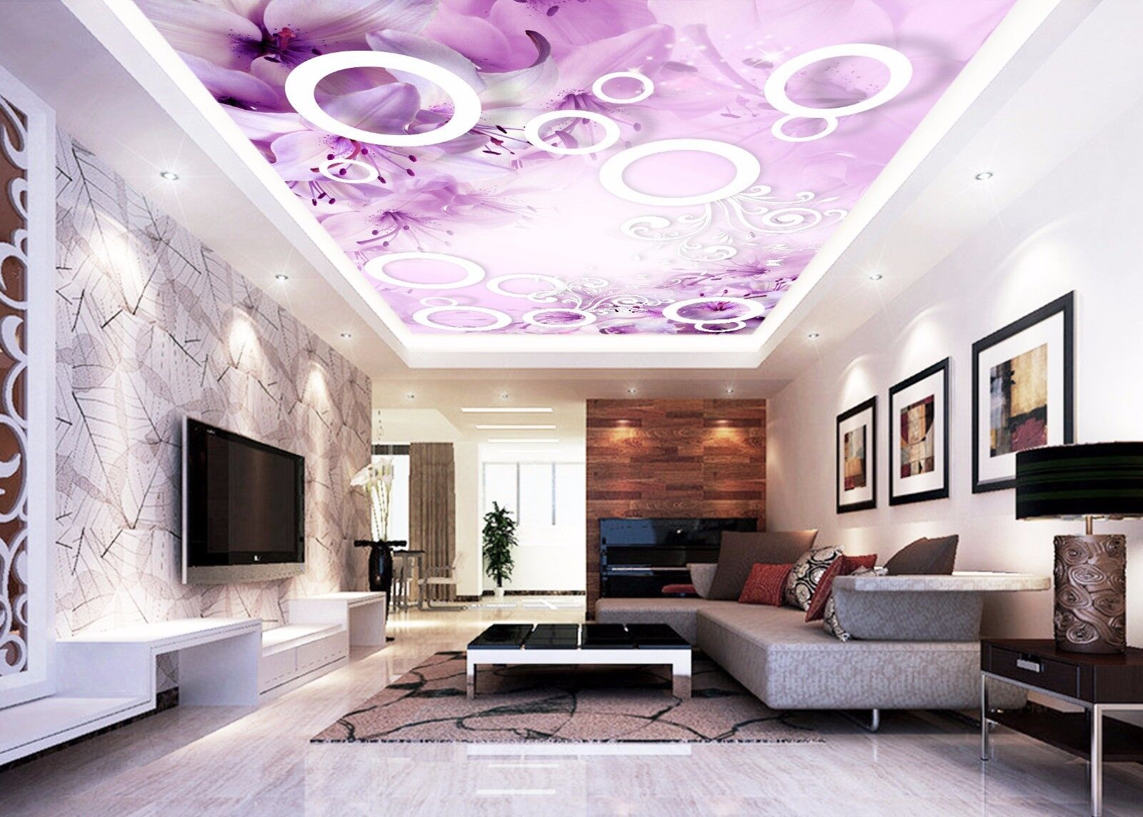 3D Round Flowers 85 Ceiling WallPaper Murals Wall Print Decal Deco AJ WALLPAPER
