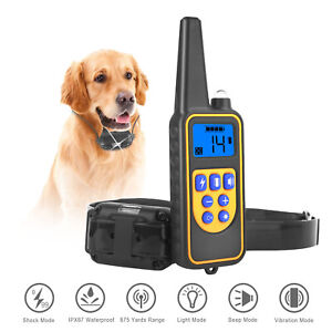 Dog Pet Electric Shock Training Collar Waterproof Rechargeable Remote 875 Yard