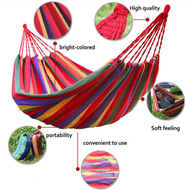 One Person Hammock Cotton Rope Outdoor Swing Fabric Camping Hanging Canvas Bed