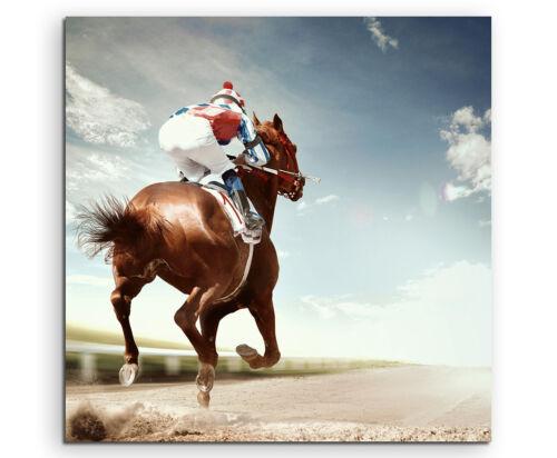 Pferd auf Rennbahn mit Reiter Wandbild auf Leinwand in verschiedenen Größen
