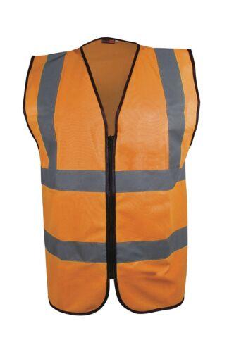 Hi Vis Executive Zip Vest Jacket Print//No Print PPE Safety Wear Cycle Motorbike