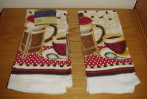 "(Lot of 2) ~ Kitchen Coffee Design Towel Towels 15"" x 25"" New"