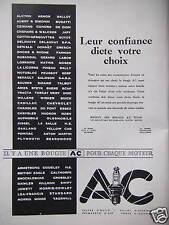 PUBLICITÉ LA BOUGIE AC LEUR CONFIANCE DICTE VOTRE CHOIX POUR CHAQUE MOTEUR