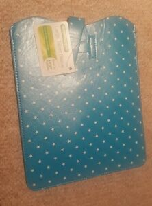 Large-Tablet-Case-Turquoise-Blue-With-White-Star-Pattern-Great-Stocking-Filler