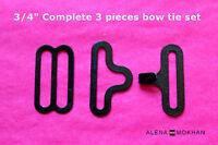 ¾ Black Bow Tie Hardware 10 20 30 50 100 Set Necktie Adjustable Clips
