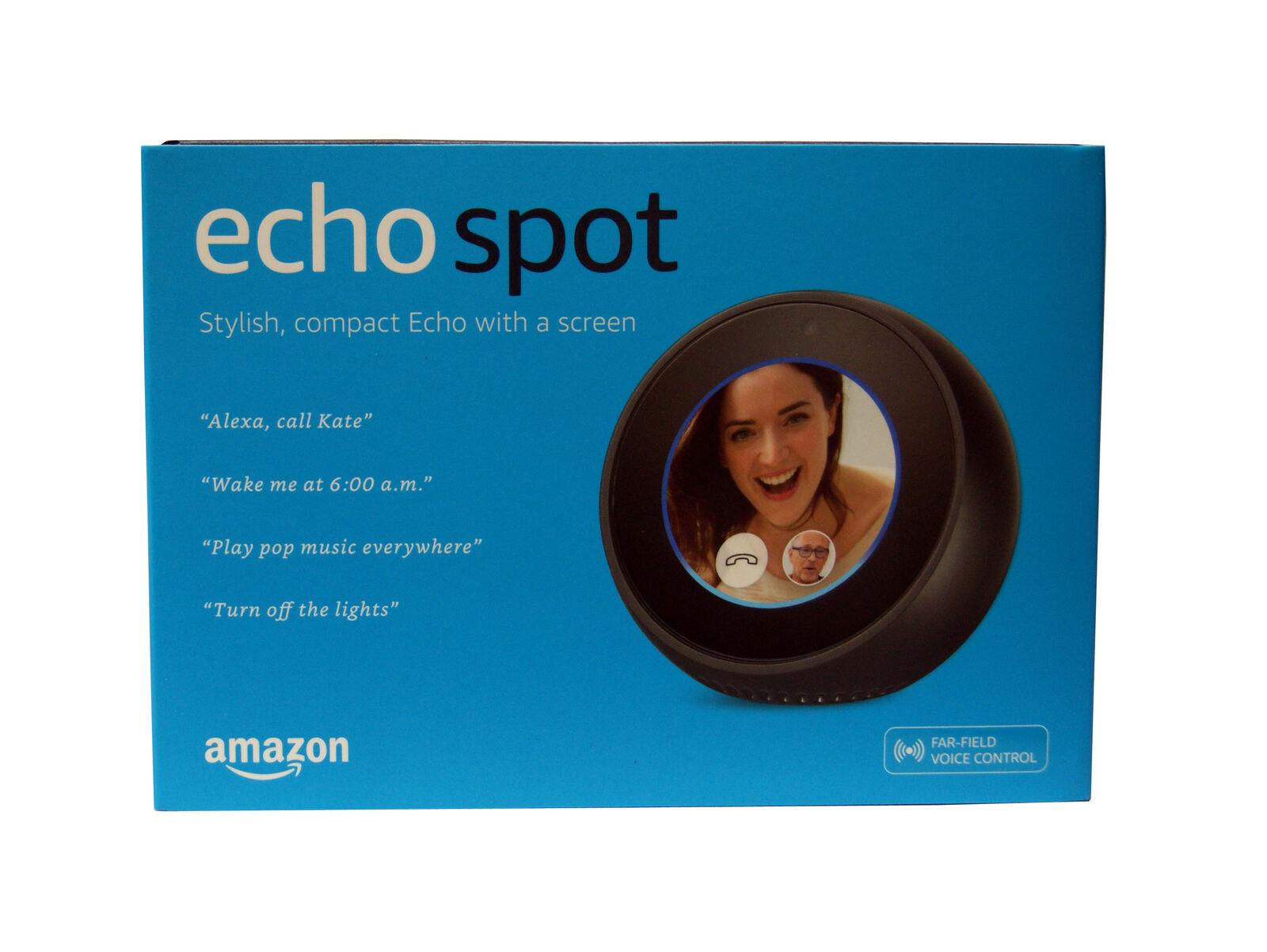 "AMAZON Echo Spot Video House Assistant 2.5"" Display screen Dimension - Black"