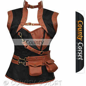 17bb9942523 Image is loading Steampunk-Overbust-Gothic-Steel-Boned-Black-Brown-Brocade-