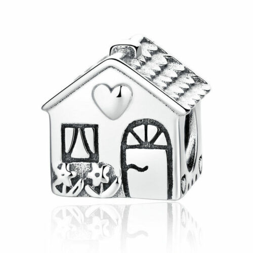 Authentique S925 Argent Sterling HOME HAPPY HOUSE Charm Building Bead Fit Chain