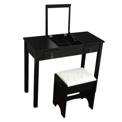 Vanity Makeup Dressing Table Set W Stool Flip Top Mirror 2 Drawer Writing Desk
