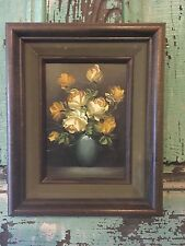 Vintage Yellow Shabby Cottage Chic Floral Rose Roses Signed Painting