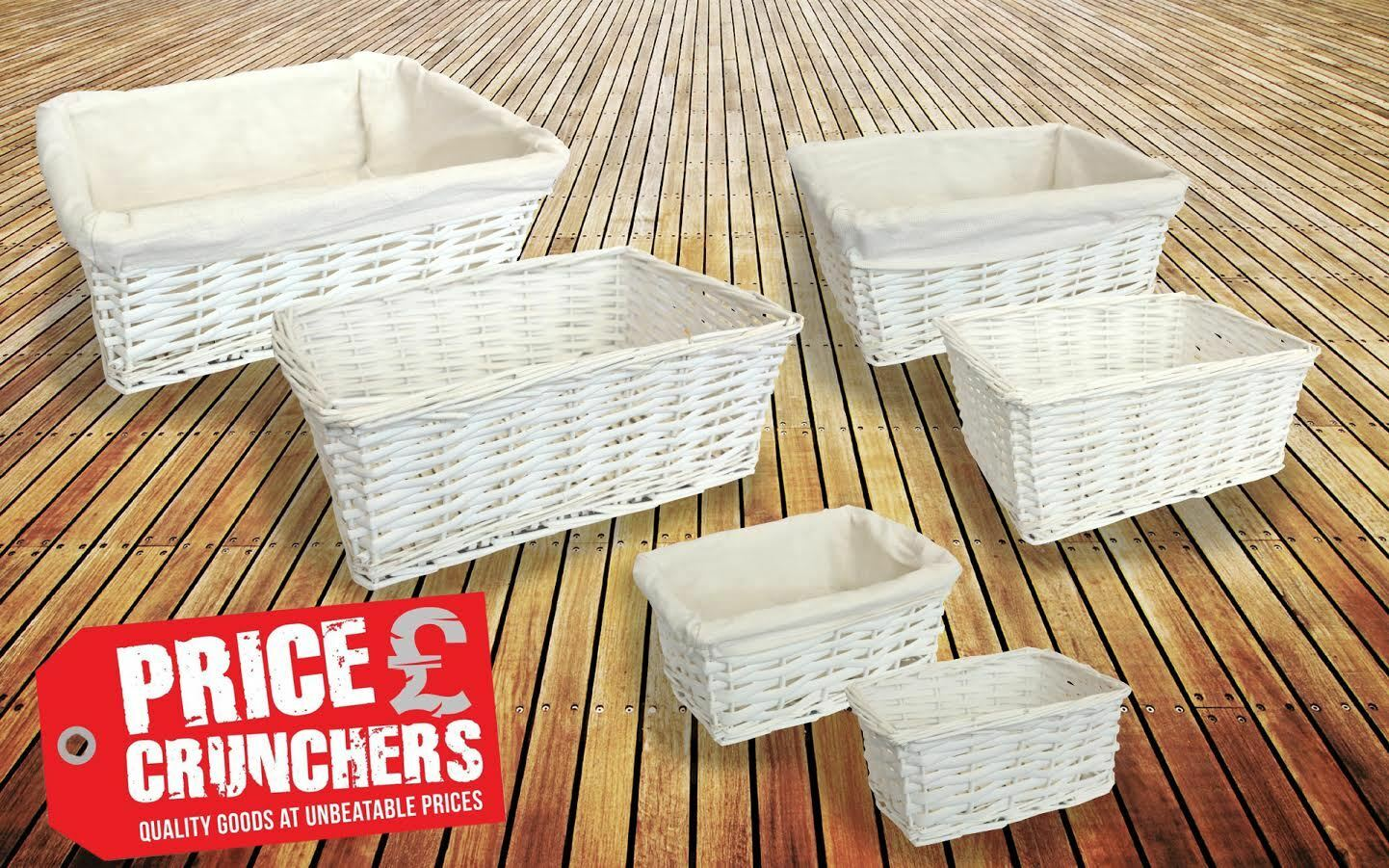 White Wicker Storage Basket Gift Hamper Set Easter Lining