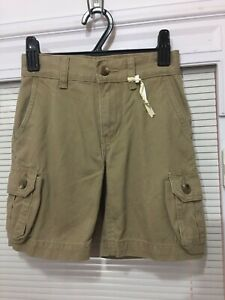 NWT Boys Faded Glory Solid Sand Khaki Cargo Shorts