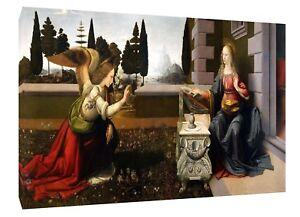 Annunciatio Par Leonardo Da Vinci Re Imprimé Sur Encadrée Toile Décoration Murale-afficher Le Titre D'origine