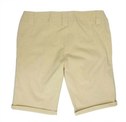 Womens 16-24 New Fitted Waist Stretch Knee Length Shorts Belt Loops Beige Taupe