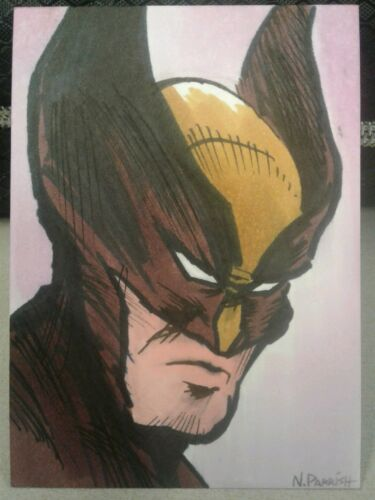 Wolverine ORIGINAL COLOR ART Sketch card drawing comic ACEO Parrish marvel film