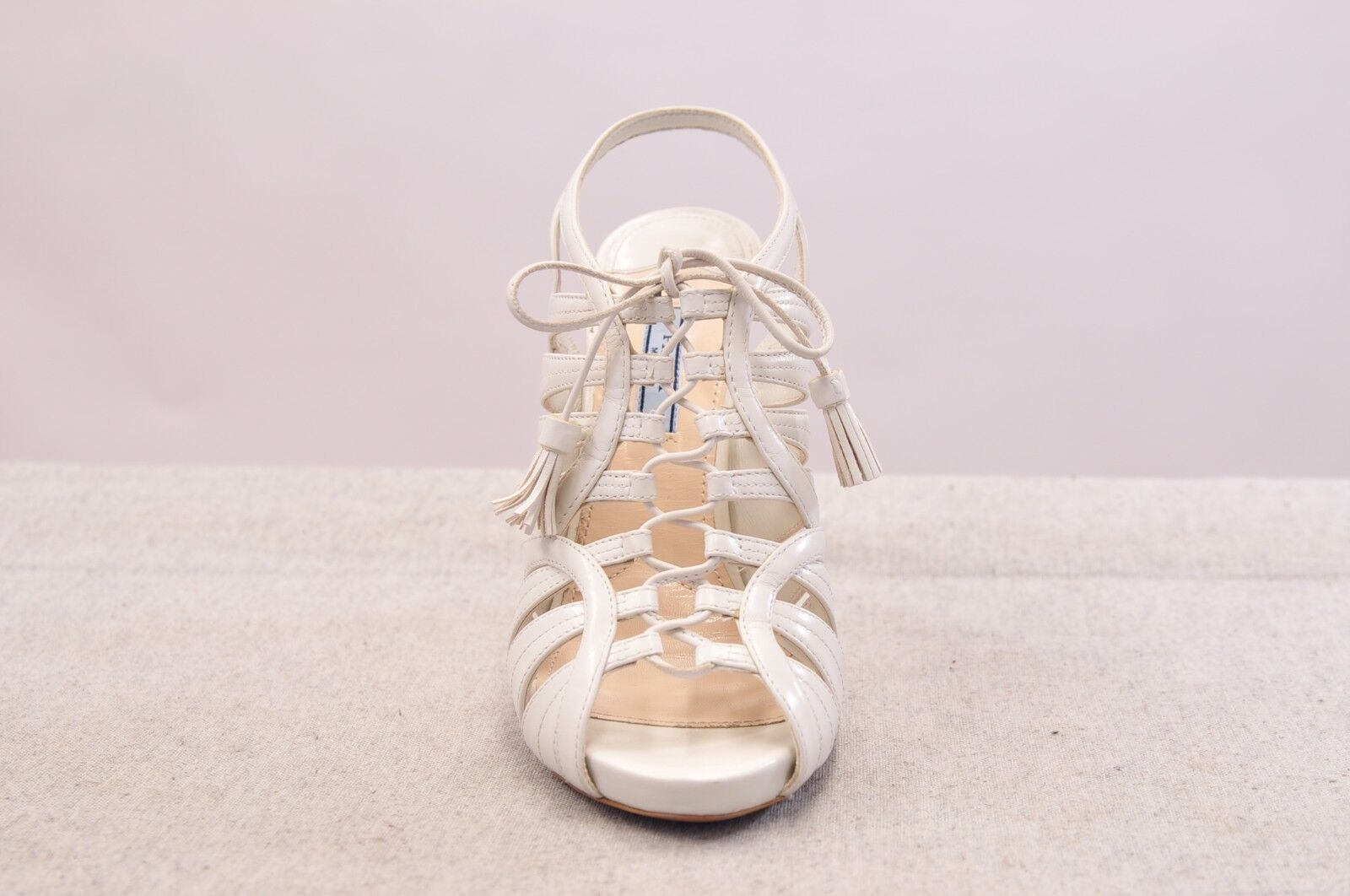 NIB PRADA CALZ DONNA Weiß LEATHER MADE CAGE HEELS OPEN TOE MADE LEATHER IN ITALY cc264e