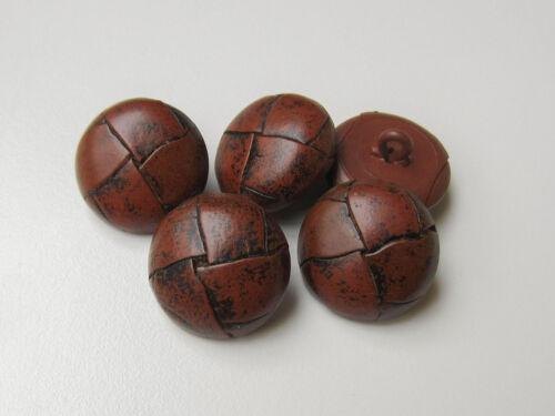 5 Rouge//Brun Classique Cuir Boutons dans vintage optique l333mb
