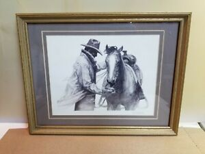W-H-Ford-Lithograph-Marlboro-Cowboy-and-Horse-034-PARTNERS-034-Nicely-Framed