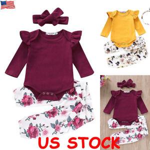24fae788438 Newborn Kids Baby Girl Floral Clothes Jumpsuit Romper Bodysuit Pants ...