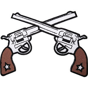 Cowboy-Guns-Embroidered-Iron-Sew-On-Clothes-Hat-Patch-Sheriff-Pistol-Gun-Badge