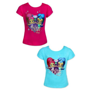 692443173 Girls 100% Cotton Shimmer & Shine Short Sleeve Printed T-Shirt 2 ...