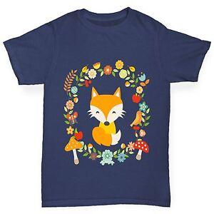 Twisted-envy-boy-039-s-floral-fox-t-shirt
