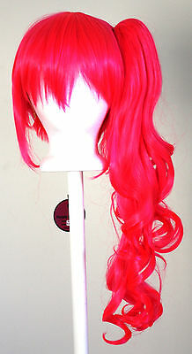 23'' Curly Pony Tail + Base Hot Pink Cosplay Wig NEW