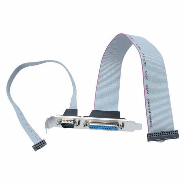 PC Motherboard LPT 25p Printer + DB9 9pin RS232 Com Port Cable Bracket