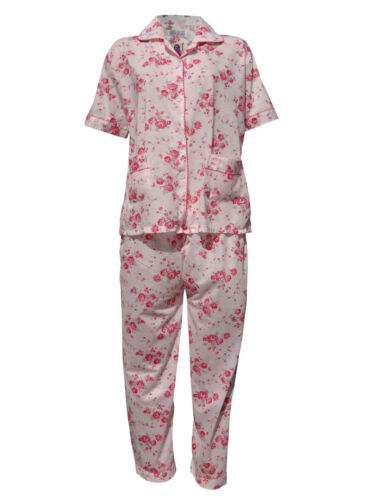 Womens Pyjamas Flower Night Wear Nighty Cotton Revere Collar Short Sleeves